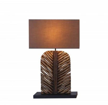 Stolová lampa Leaf 63cm Longan-drevo hnedá