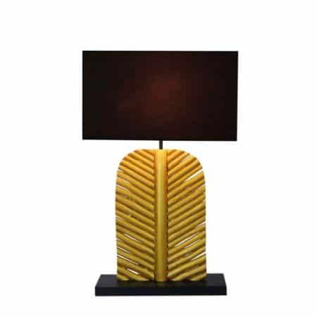 Stolová lampa Leaf 63cm Longan-drevo zlatá čierna