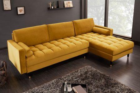 Rohová sedačka Cozy Velvet II 260cm horčicovo žltá zamat