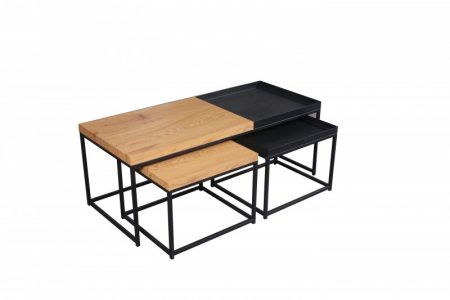 Konferenčný stolík Loft set 3ks dub-Optik čierna