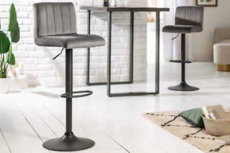 Barová stolička Portland zamat sivá