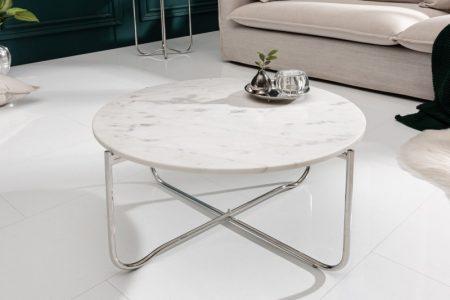 Konferenčný stolík Noble 62cm mramor biela strieborná
