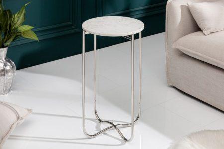 Konferenčný stolík Noble I 35cm mramor biela strieborná