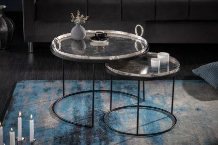 Konferenčný stolík Elements Oriental set 2ks strieborná