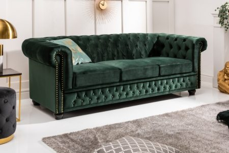 Sofa Chesterfield 3er zamat zelená