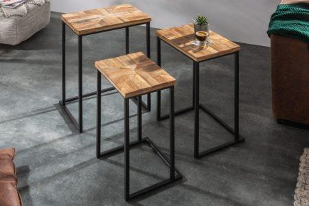 Konferenčný stolík Industrial set 3ks Mango