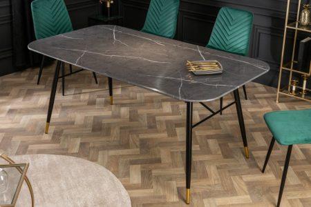 Jedálenský stôl Paris 180cm sklo mramor-Optik čierny