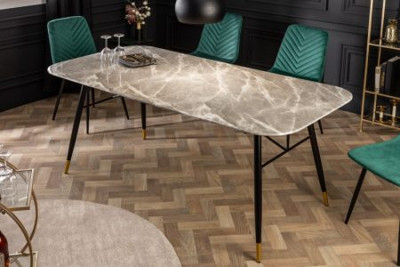 Jedálenský stôl Paris 180cm sklo mramor-Optik sivý
