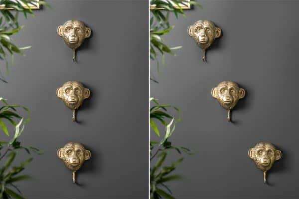 Kleiderhaken Three Apes set 3ks zlatá
