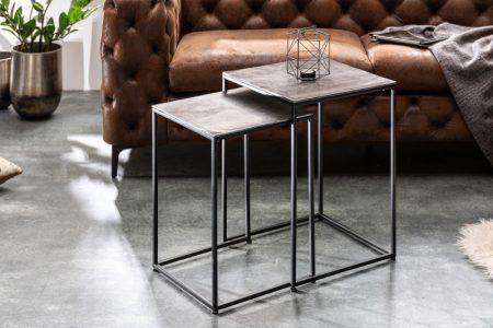 Konferenčný stolík Elements set 2ks strieborná čierna
