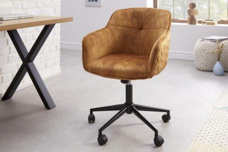 Kancelárska stolička Euphoria horčicovo žltá zamat