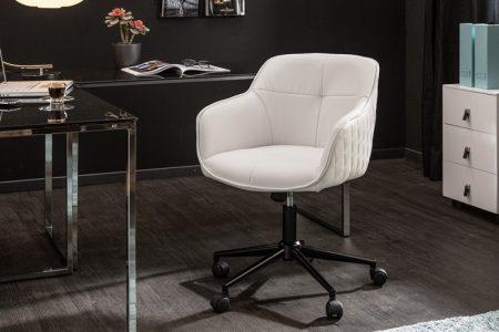 Kancelárska stolička Euphoria biela umelá koža