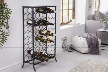 Regál na víno Storage 100cm kov čierna