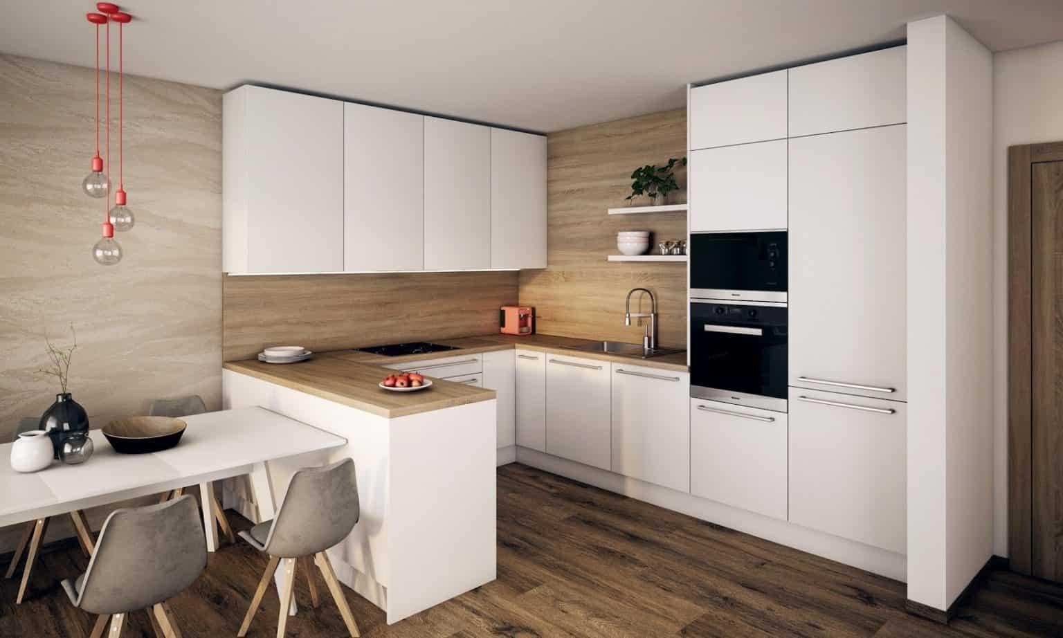 Vysunutý ostrovček tejto kuchyne v tvare U zvýrazňuje predel medzi jedálenskou a kuchynskou časťou. Zdroj: iKuchyne.sk