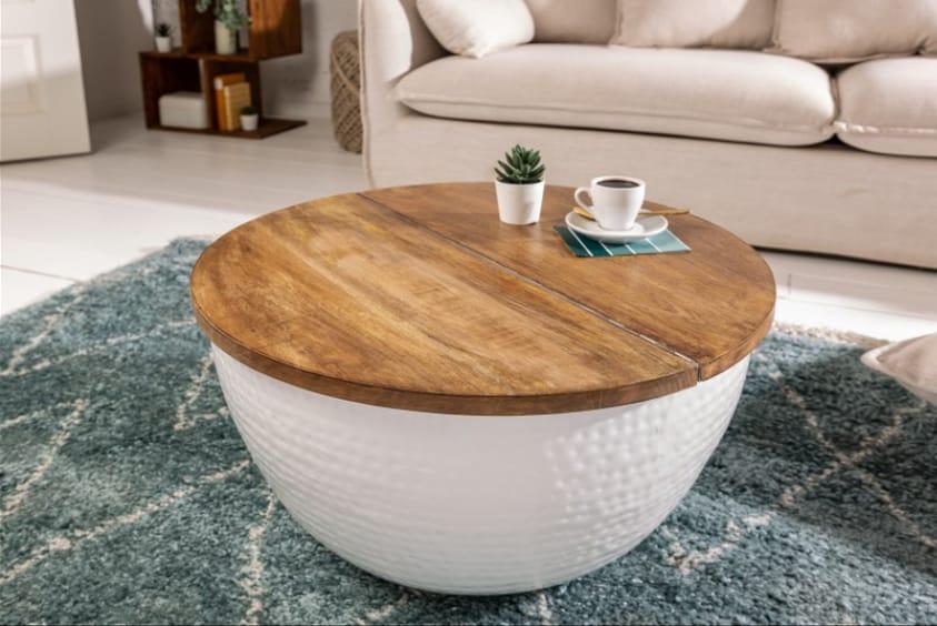 Biely konferenčný stolík s úložným priestorom vo vnútri. Zdroj: iKuchyne.sk
