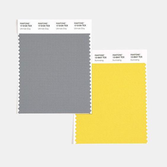 Zvolené farby roka 2021 sivá a žltá. Zdroj: Pinterest.com