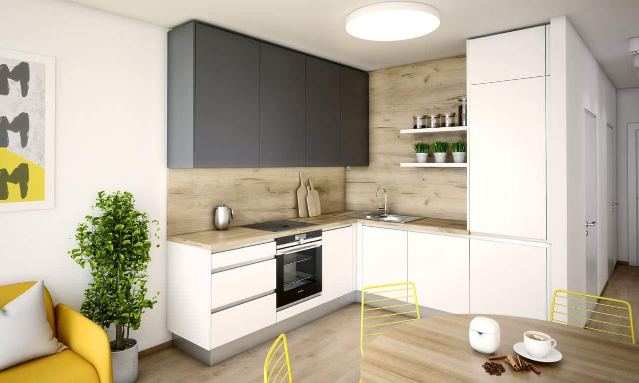 Realizácia bytu v Urban Residence, kde je spojená žltá a sivá farba. Zdroj: iKuchyne.sk