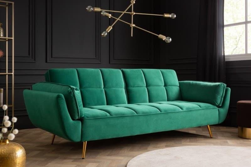Rozkladacia pohovka Boutique smaragdovo zelená bude vo vašej modernej obývačke stredobodom pozornosti. Zdroj: iKuchyne.sk