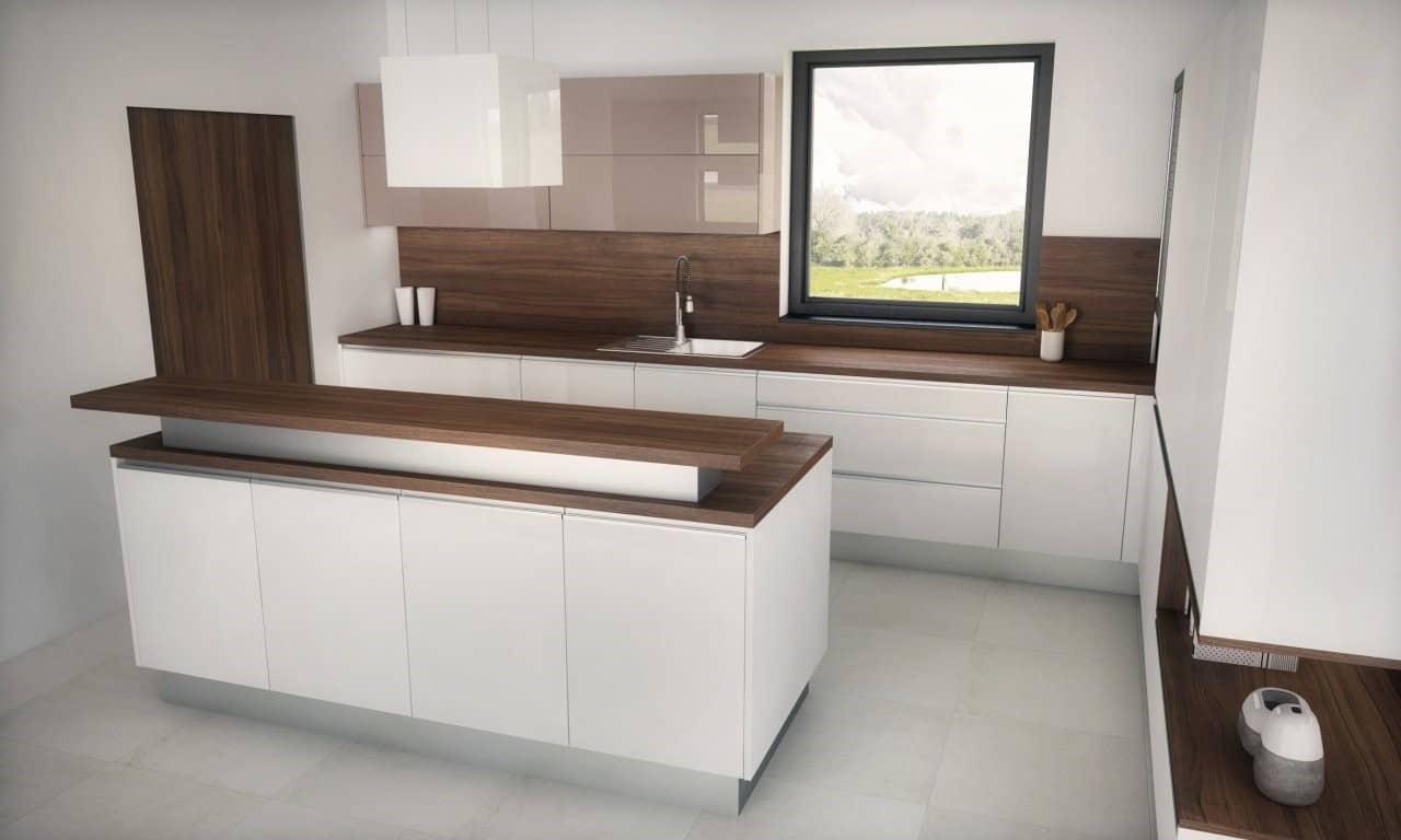 Tmavšie drevo na pracovnej doske sa v bielej kuchyni postará o kontrast. Zdroj: iKuchyne.sk