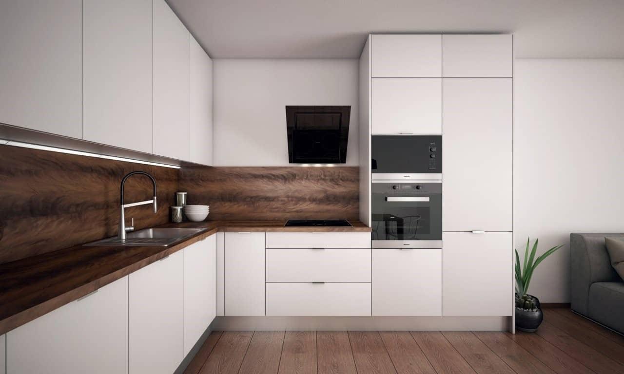 Tmavá podlaha rozbije v jemnej kuchyni nevinný dizajn - samozrejme k lepšiemu. Zdroj: iKuchyne.sk