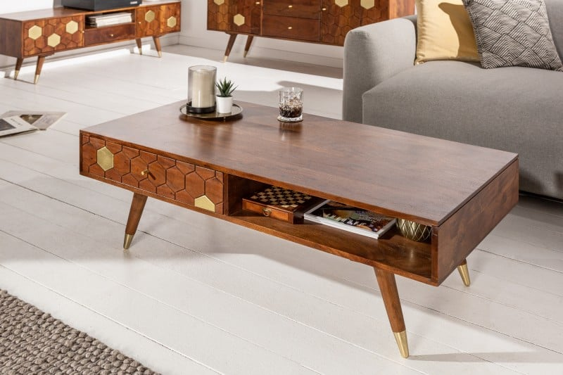 Konferenčný stolík Mystic Living v kombinácii dreva a kovu. Zdroj: iKuchyne.sk