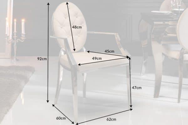Stolička Modern Barock béžová zamat Armlehne