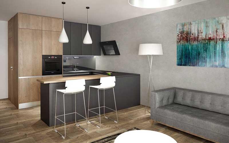 Potešte sa modernou kuchyňou v tmavom prevedení so skrinkami až ku stropu. Zdroj: iKuchyne.sk