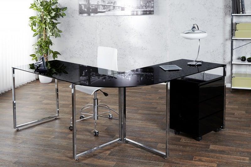 Tento čierny rohový písací stôl oceníte v prípade, že sa potrebujete deliť o domácu kanceláriu s členom domácnosti. Zdroj: iKuchyne.sk