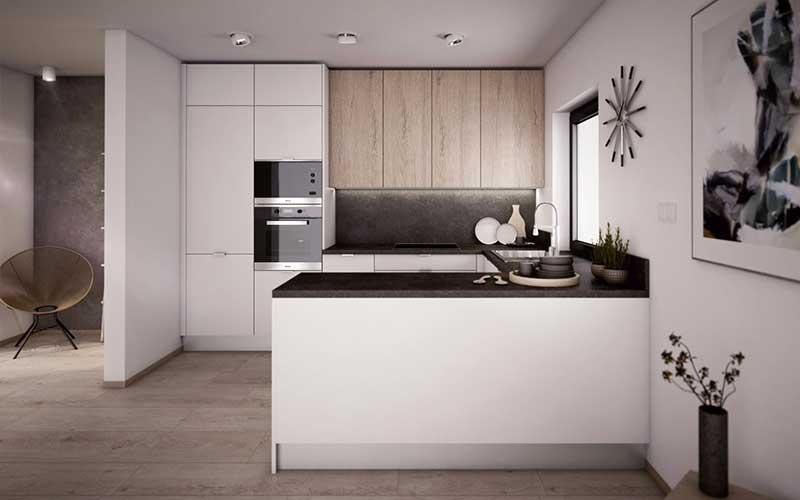 Rohová kuchyňa s nepatrnou medzerou medzi stropom a skrinkami vyzerá skvelo, naviac myslí na šetrnosť. Zdroj: iKuchyne.sk