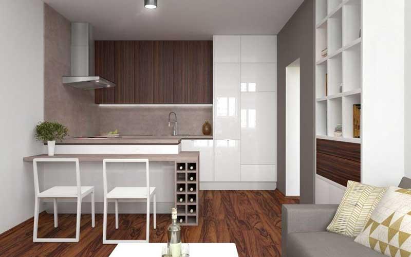 Aj menším kuchyniam pasuje kuchynská linka po strop. Vidíte tú priestrannosť? Zdroj: iKuchyne.sk