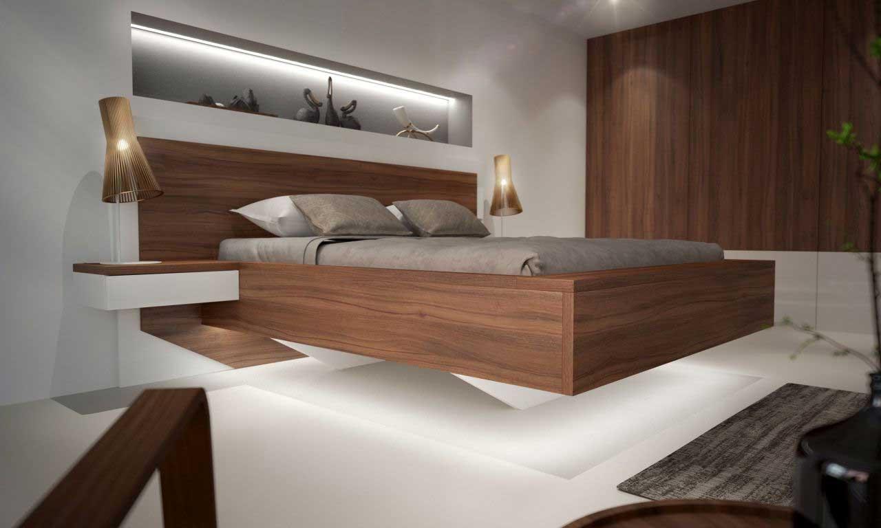 Nočný stolík vo forme poličky pôsobí minimalisticky a moderne. Zdroj: iKuchyne.sk