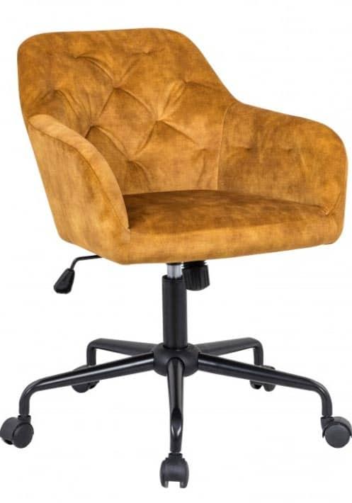 Aj nábytok na kolieskach dokáže zaujať. Horčicovo žltá kancelárska stolička je toho príkladom. Zdroj: iKuchyne.sk