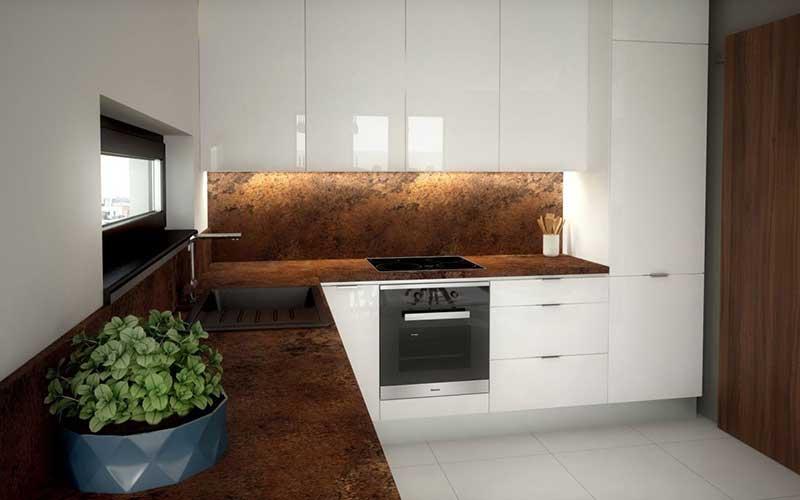 Biela kuchynská linka po strop ponúka dostatok úložného priestoru na všetko, čo k vareniu potrebujete. Zdroj: iKuchyne.sk