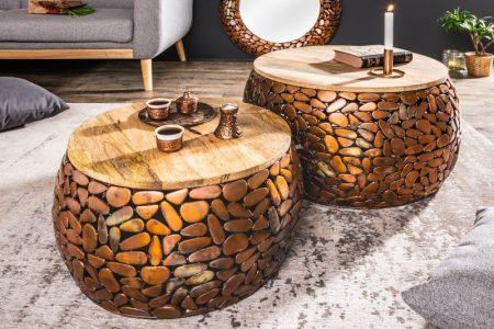 Konferenčný stolík Stone Mosaic set 2ks meď agát