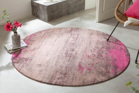 Teppich Modern Art 150cm rund béžová ružová