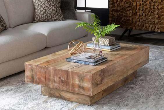 Drevený konferenčný stolík a jeho kombinácia do viacerých štýlov. Zdroj: Pinterest.com