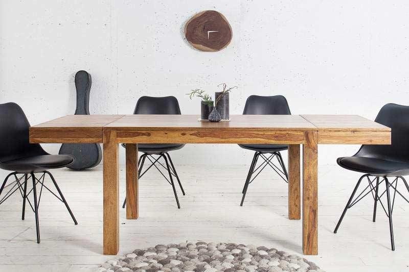 Tento rozkladací jedálenský stôl je tvorený originálnou drevenou doskou a klasickým podstavcom zo štyroch nôh v prírodnej farbe. Zdroj: iKuchyne.sk