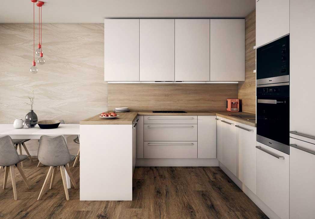 Rohové kuchyňe do tvaru U sú jedným z dispozičných riešení návrhu kuchyne. Zdroj: iKuchyne.sk