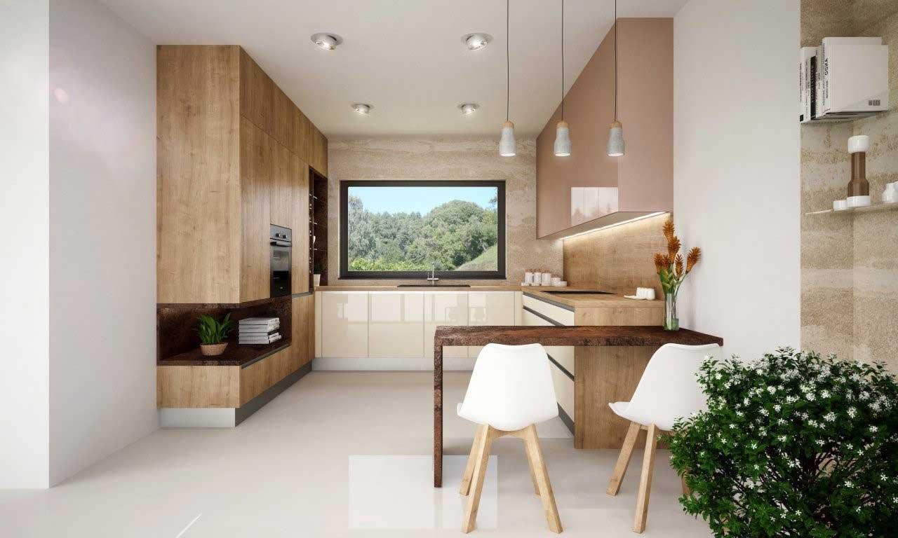 Páči sa vám drevená kuchyňa s bielymi doplnkami? Zdroj: iKuchyne.sk