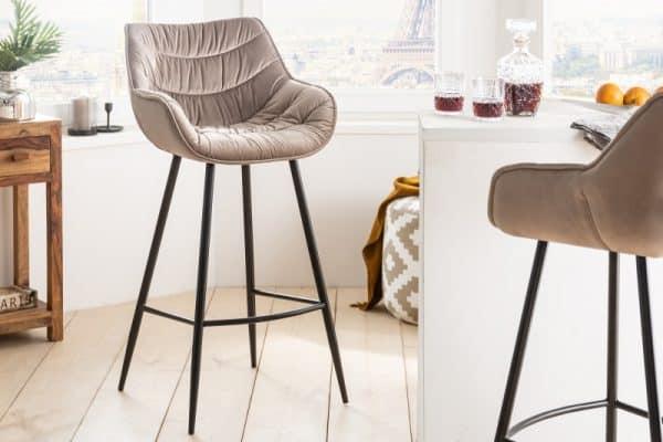 Barová stolička The Dutch Comfort zamat champagner