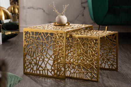 Konferenčný stolík Astract set 2ks zlatá