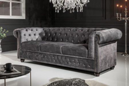 Sofa Chesterfield 3er sivá zamat