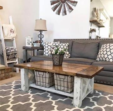 Čo by mal spĺňať konferenčný stolík vo vidieckom štýle? Zdroj: Pinterest.com