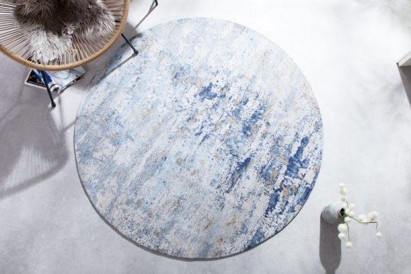 Teppich Modern Art 150cm rund blau béžová