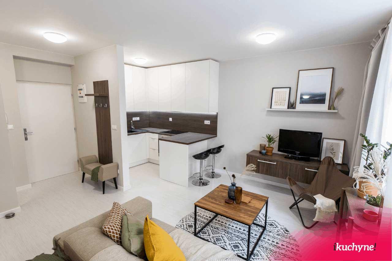 V malom priestore môže byť kuchyňa s obývačkou veľkou výhodou. Zdroj: iKuchyne.sk