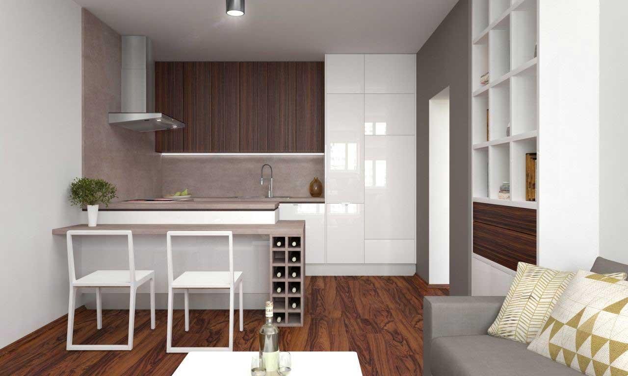 Digestor je v tejto kuchyni s obývačkou umiestnený nad sporákom. Zdroj: iKuchyne.sk