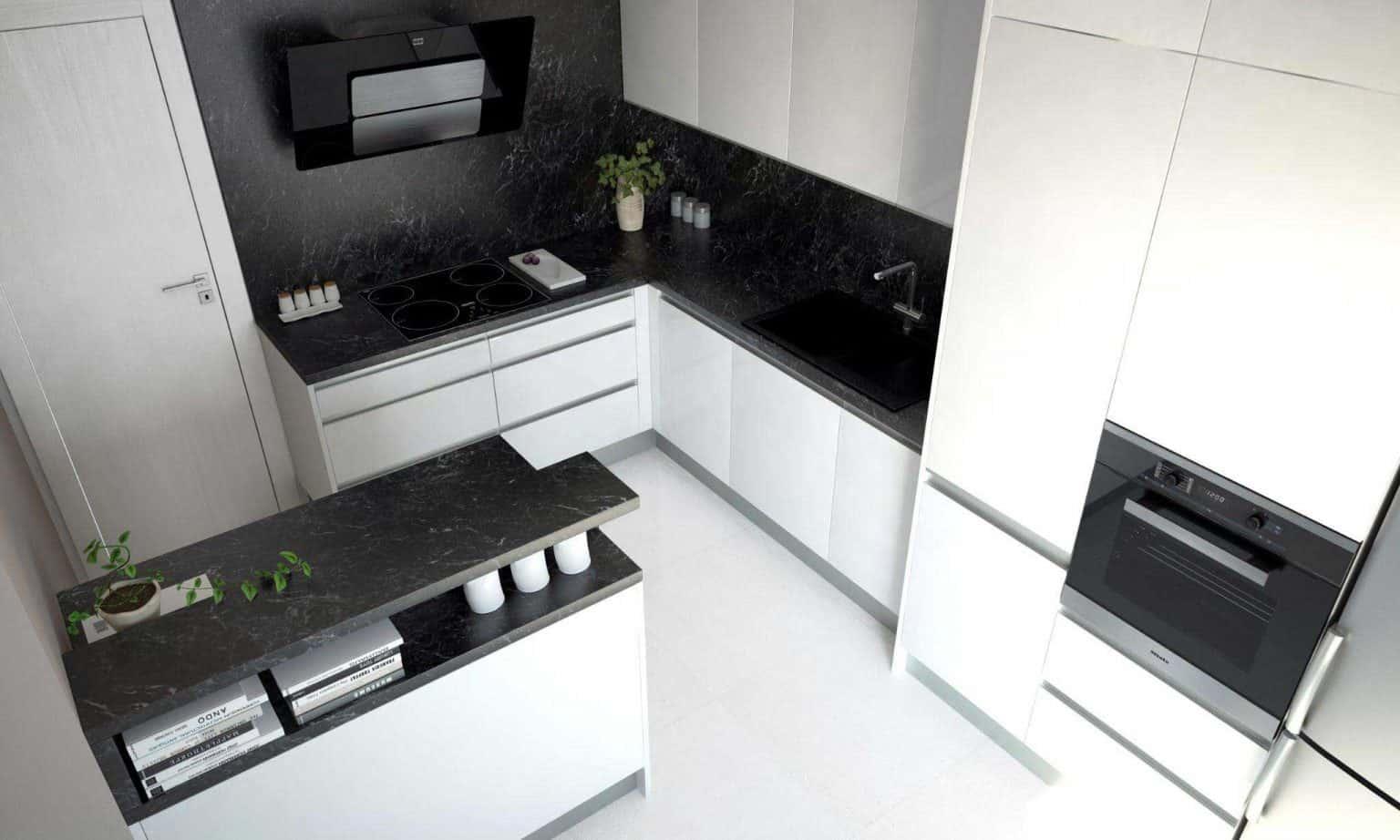 Elegantná kuchyňa s ostrovčekom a nenápadný čierny digestor. Zdroj: iKuchyne.sk