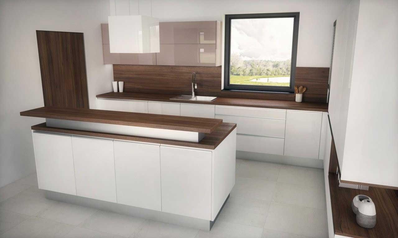Lesklá biela kuchyňa musí mať digestor, keďže v miestnosti je iba jedno malé okno. Zdroj: iKuchyne.sk