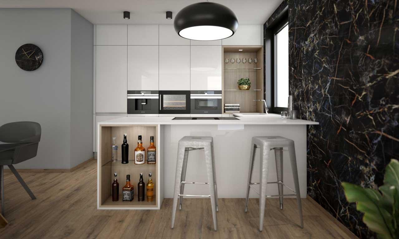 Nádherne riešená kuchyňa so zaujímavým digestorom. Čo na to poviete? Zdroj: iKuchyne.sk