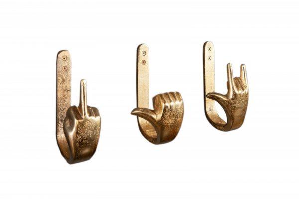 Kleiderhaken Fingers set 3ks zlatá